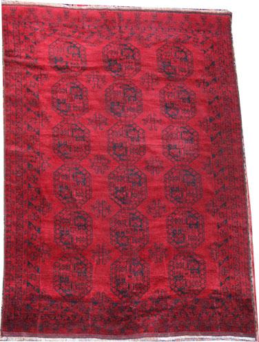 Old Red Afghan Tribal Rug 235 x 227 cm