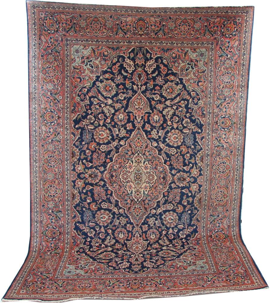Antique blue Kashan rug circa 1920