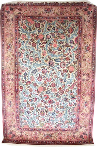 Silk and wool Persian Kashan Rug