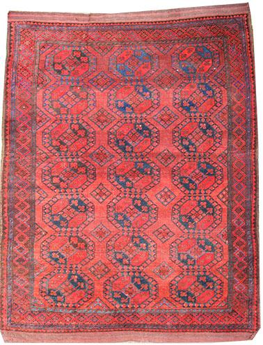 old Afghan Ersari rug in red 290 x 205 cm
