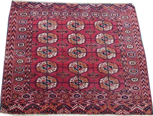 little pink Tekke Turkmen rug 140 x 110 cm