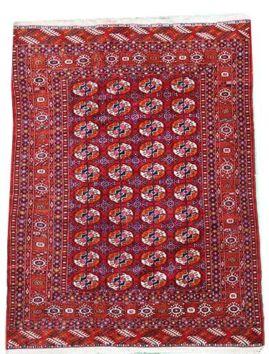 Old Turkmen rug in red 190 x 130 cm
