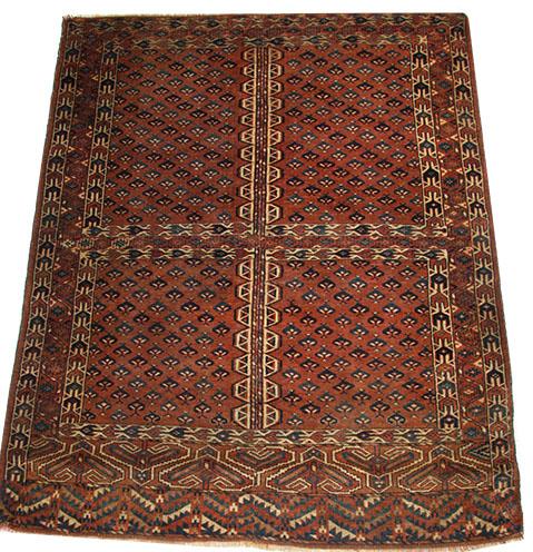 Old Turkmen Yamout Hatchli rug 158 x 123 cm
