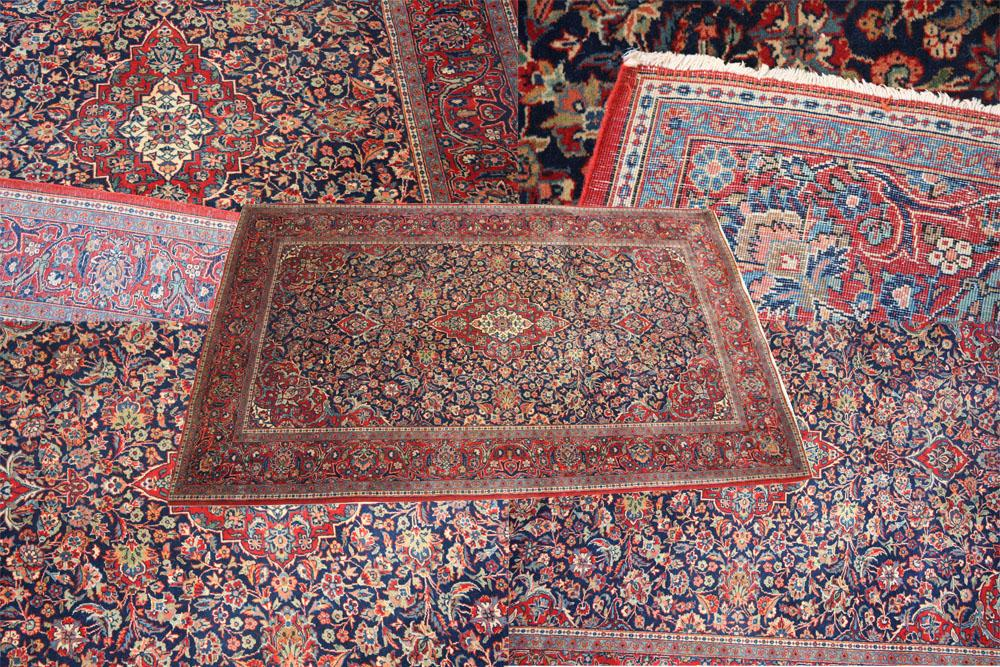 Finely woven antique Persian Kashan rug
