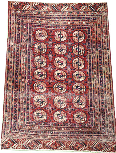 Naturally worn Tekke Turkmen rug 140 x 110 cm