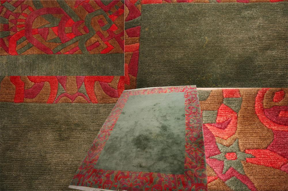 GREEN HANDMADE TIBETAN CARPET