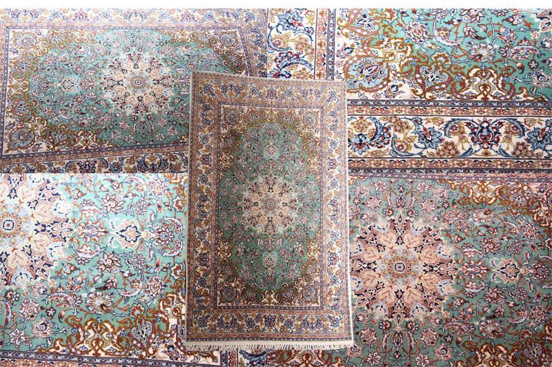 GREEN PERSIAN SILK WOOL ISFAHAN RUG