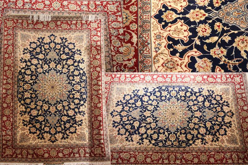 HAND KNOTTED SILK AND WOOL ISFAHAN RUG