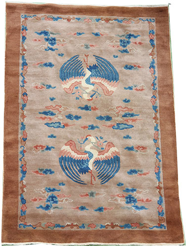 Swans Art Deco Chinese rug 210 x 125 cm
