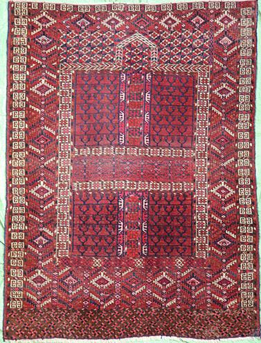 Antique Turkmen Hatchli rug 155 x 125 cm