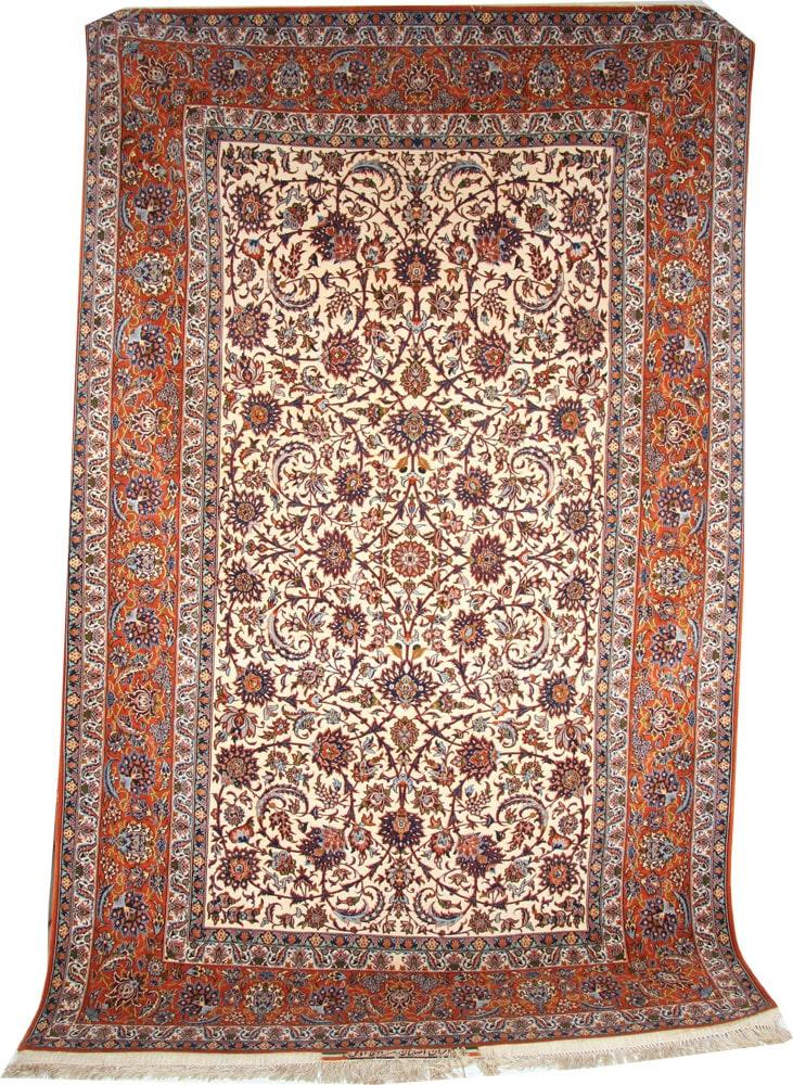 Isfahan signed Silk Rug