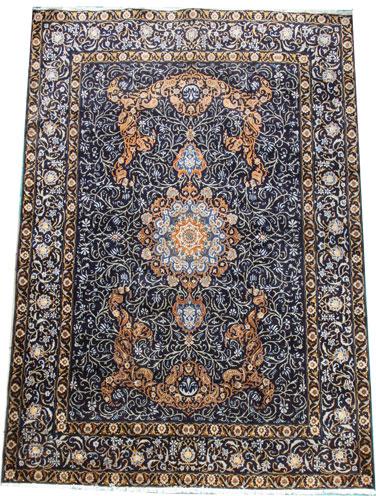 Old Blue Kashan Carpet 365 x 285 cm