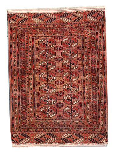 Turkmen light brown rug 125 x 93 cm