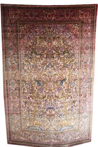 Antique Silk Kashan Rug c1900
