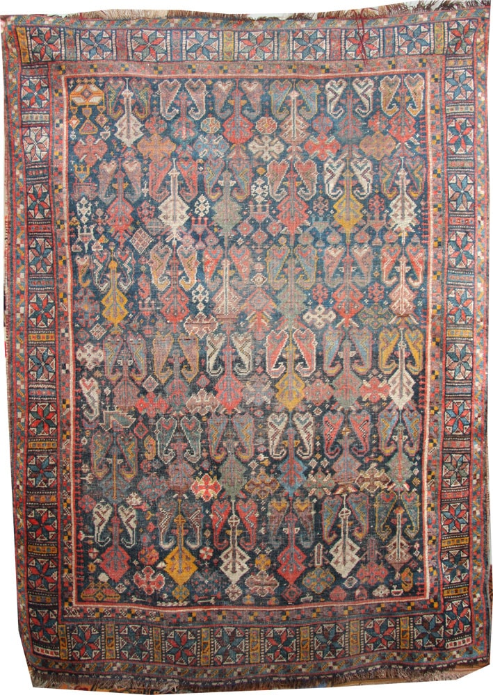 pre-1900 Qashqai wool rug