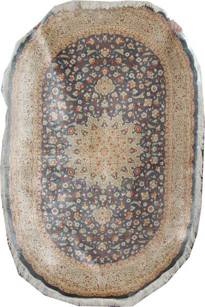 Fine silk Oval Qom Rug 155 x 105cm