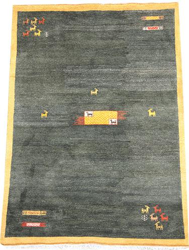 Green Gabbeh rug 300 x 200cm