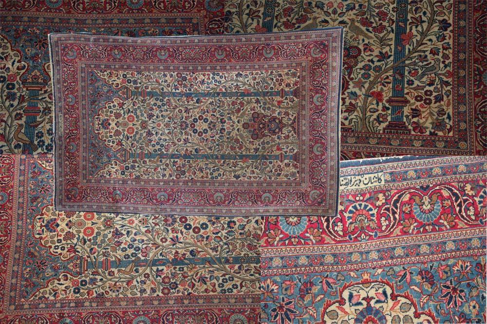 signed antique Persian Kashan prayer rug