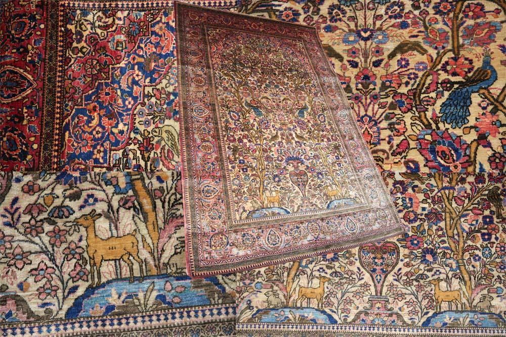 Silk Persian Kashan rug circa 1900
