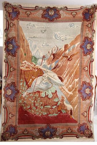 pictorial silk Qom rug