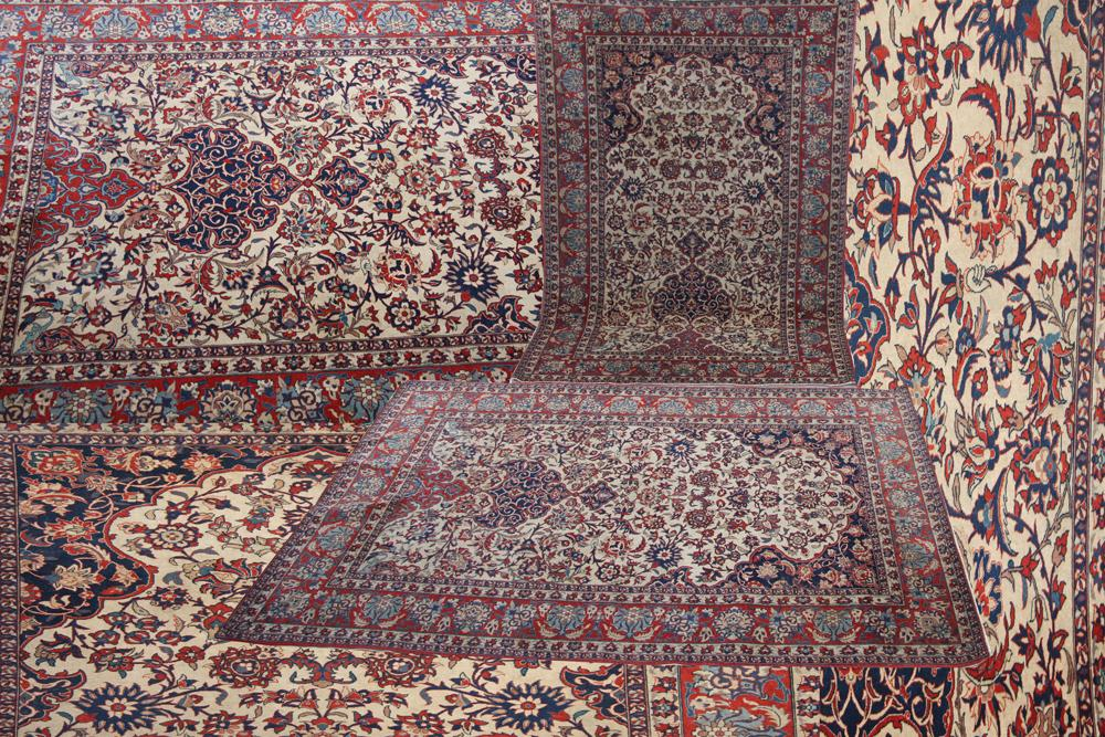 Splendid pair of antique Persian Isfahan rugs