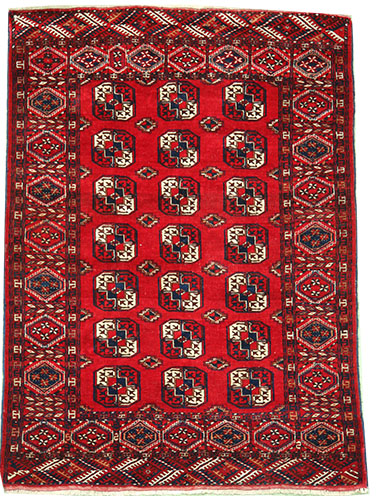 Red Turkmen Bokhara rug 180 x 135 cm